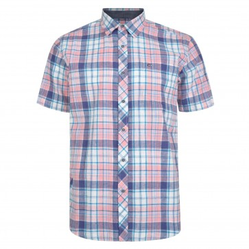 Peter Gribby Button Under Collar Peach Short Sleeve Checked Shirt