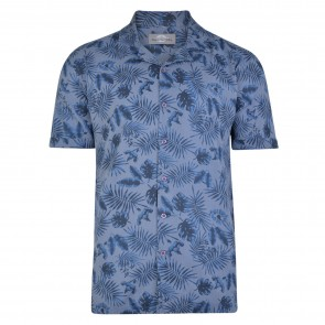 Peter Gribby Cuban Collar Palm Print Shirt - Denim
